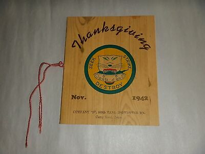 WWII 899th Tank Destroyer Battalion Co. B 1942 Thanksgiving Menu Roster Texas