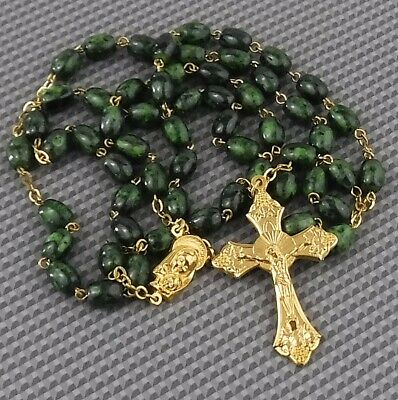 Gorgeous Jade Green Rosary Beads w Gold Metal Crucifix, Pendant & Links - Nice