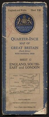 ORDNANCE SURVEY Quarter-inch sheet 12 ENGLAND SOUTH-EAST and LONDON 1945
