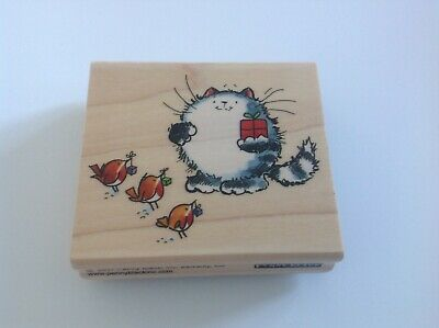 PENNY BLACK W/M RUBBER STAMP - SEASON OF SHARING - cat with 3 robins