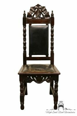 1960's Vintage Antique Jacobean Gothic Revival Ornate Dining Side Chair