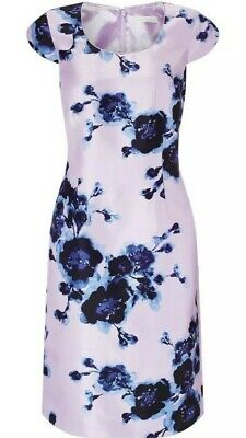 Jacques Vert Lilac Watercolour Peony Dress UK18 Wedding / Races Special Occasion