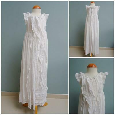 Antique Christening Dress Gown Victorian Babys Embroidered Whitework Baptism