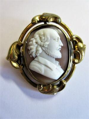 Antique Victorian Carved Shell Cameo Brooch - Shakespeare - Swivel Frame!