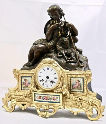 Antique French Mantle Clock 8 Day Beautiful 2 Piece 2 Tone Figural Gilt & Sevres