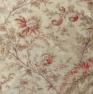 BEAUTIFUL MID 19th CENTURY FRENCH LINEN COTTON INDIENNE, PARASOL FLOWERS 152