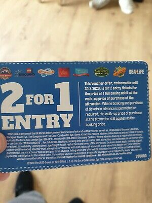 2 for 1 voucher Thorpe park, Alton Towers And Sea Life