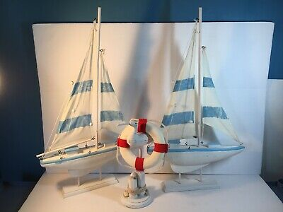 Wooden Nautical Sailboats/Pelican Decor Beach House /Tabletop/ Boys Room