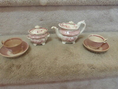 GORGEOUS ANTIQUE 1800s Red Staffordshire Child's Teapot Sugar Cups Saucers