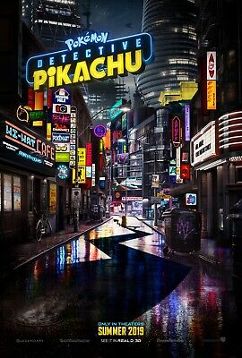 """POKEMON DETECTIVE PIKACHU 2019 Advance Teaser DS 2 Sided 27x40"""" US Movie Poster"""