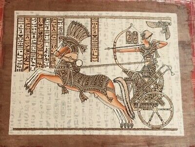 Papyrus Egyptian Pharaohs Ramses on Chariot Large Size Hand Paint USA Free Ship