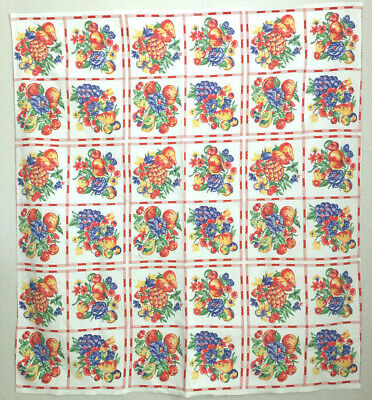 Vintage Printed Tablecloth with a Grid of Bright Colorful Fruit (2)