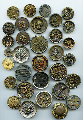 32 Antique Buttons * Mostly Pictorial Story Buttons * Mythology Fairy Tale LARGE