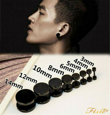 1Pair 2Pcs Men Women Black Barbell Punk Gothic Stainless Steel Stud Earrings UK