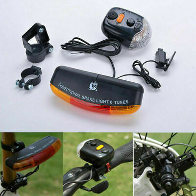 New 7LED Bicycle Bike Tail Turn Signal Directional Brake Light Lamp with Horn US