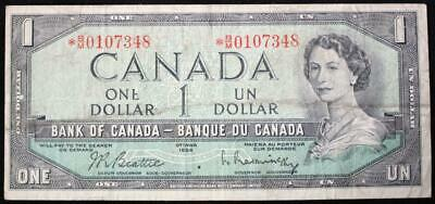 Canada 1954 One Dollar Replacement Note, Ser. # *BM0107348, Beattie/Rasminsky