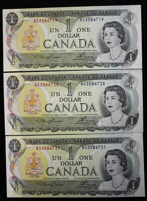 Canada 1973 $1 Dollar Bank Notes, 3 In Sequence, Crisp Choice Uncirculated, NS