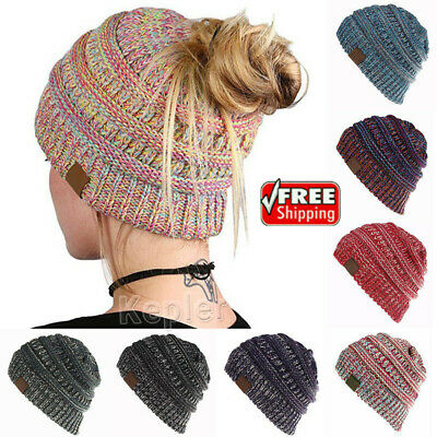 Women's Ponytail Beanie Ribbed Winter Messy Bun Cable Warm Soft Knit Hat AU HOT