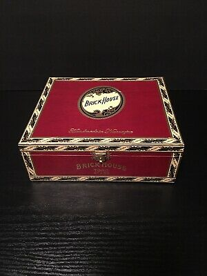 Brick House Toro Flip Top Wooden Cigar Box Humidor Red With Clasp