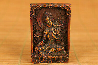 asian tibet old boxwood hand carved buddha statue collect netsuke decoration