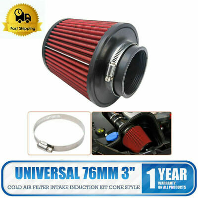 Universal Air Filter Cold Intake Induction Kit Cone - 76mm - Red