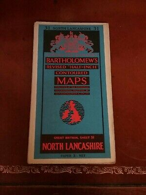 "c1945 Bartholomews Revised ""Half-inch"" Contoured Maps. North Lancashire."