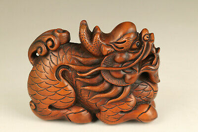 unique chinese old boxwood hand carved dragon statue netsuke