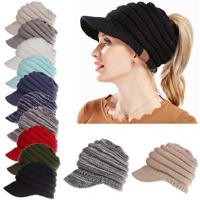 Women's Chunky Beanie Tail Warm  Knit Messy High Bun Ponytail Visor Beanie Cap