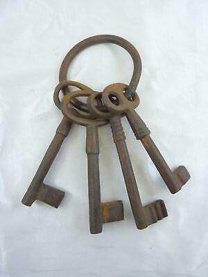 Bunch of Four Large Old Cast Iron Keys