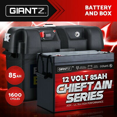 GIANTZ 85Ah Deep Cycle Battery & Battery Box 12V AGM Marine Sealed Power Solar