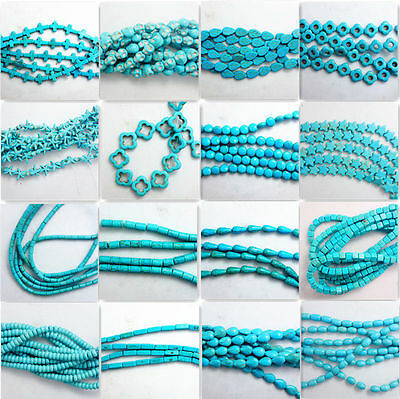 15'' Nature Blue Turquoise Gemstone Stone Beads Loose Spacer Charm Findings Yc