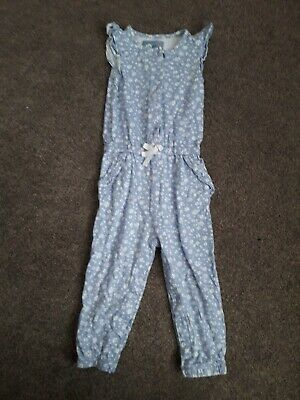 Blue white floral girls TJ jumpsuit 2-3 years button front, pockets, poppers