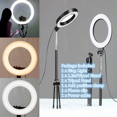 "6"" Dimmable LED Studio Ring Light Photo Video Lamp with Tripod For Camera Selfie"