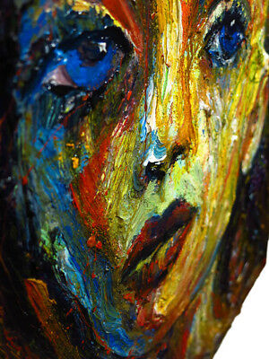 Signed Abstract Portrait Modern█Original█Oil█Painting█Outsider█Impressionist Art