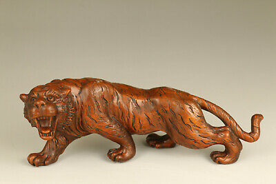 unique chinese old boxwood hand carved big tiger statue antique statue