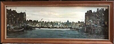 Superb Original Signed Oil - City Of London Skyline - Viewed From River Thames