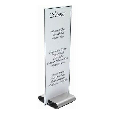 Genware Menu Stand/ Sign Holder - Stainless Steel - 3 x 3inches