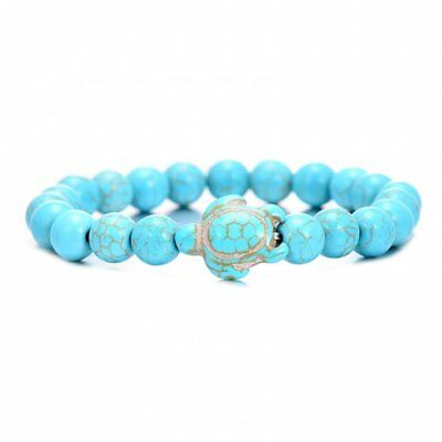 New Women Natural Turquoise Beaded Turtle Charm Bracelet Lucky Gift Hot Jewelry