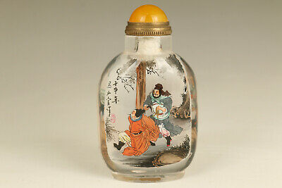Chinese natural crystal tradition culture Water Margin 鲁智深 snuff bottle