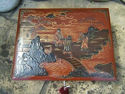 LARGE 19c JAPANESE HAND PAINTED ANTIQUE JEWELLERY BOX - FAB INTERIOR