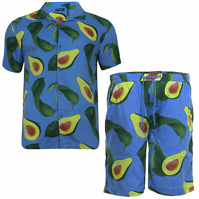 Men Shirt Matching Avocado Print Hawaiian Short Summer Holiday Cotton Brave Soul