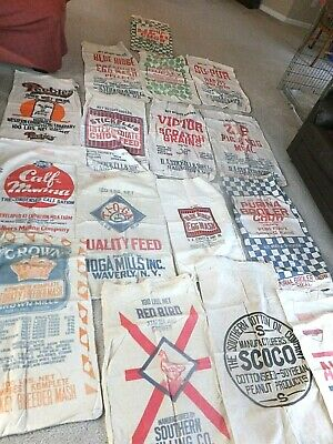 Fifteen Different 1930s Feed Sacks - Buying ONE, your choice. Offer for multiple