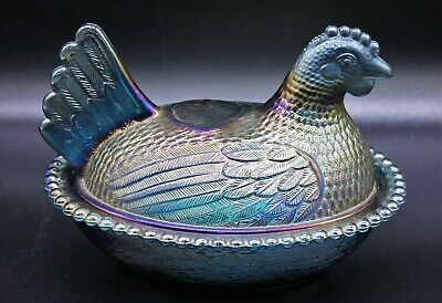 "Beautiful Indiana Glass Hen / Chicken Blue Carnival 7"" Glass Covered Candy Dish"