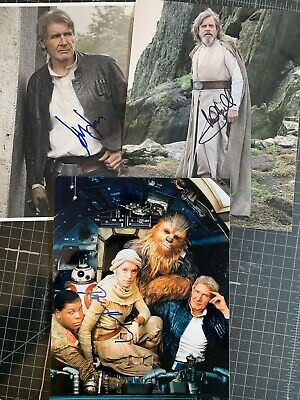 Star Wars The Force Awakens Autographed Photo Combo#2 D Ridley, M Hamill, H Ford