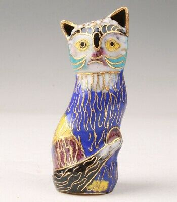 Chinese Cloisonne Hand Carving Cat Figurines Statue Gift Good Luck Collection