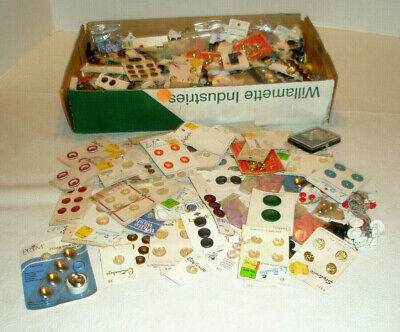 Vintage Mixed Lot of Buttons Assorted Shapes and Colors Some on Cards