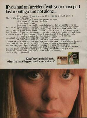 1981 Kotex Maxi Pads Vintage Magazine Ad Page Cute Girl Accidents