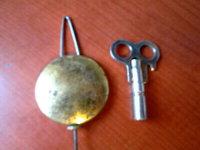 """Antique / Vintage Banjo, Ogee Brass Covered Pendulum  With Key 1-1/2""""  (440A23)"""