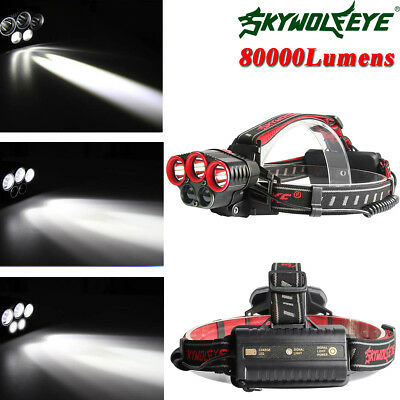 80000LM T6 LED Rechargeable 18650 USB Headlamp Hiking Head Light Zoomable Torch