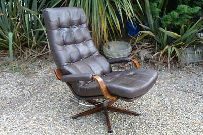 Vintage Danish Leather Armchair 1970's Rosewood Swivel Recliner Chair MCM Chic